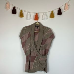Escada Argyle Asymmetrical Wrap Sweater Vest Large